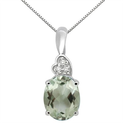 4.90Ct Oval Shaped Green Amethyst and Diamond Pendant in 10K Gold