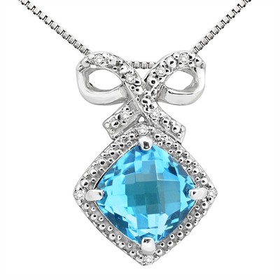 2.67Ct Cushion Shaped Blue Topaz and Diamond Pendant in 10K Gold