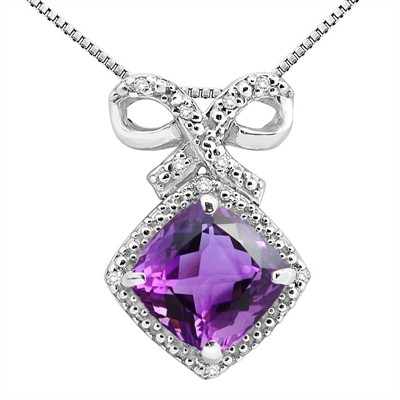 2.67Ct Cushion Shaped Amethyst and Diamond Pendant in 10K Gold