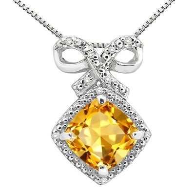 2.67Ct Cushion Shaped Citrine and Diamond Pendant in 10K Gold
