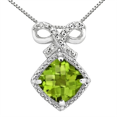 2.67Ct Cushion Shaped Peridot and Diamond Pendant in 10K Gold