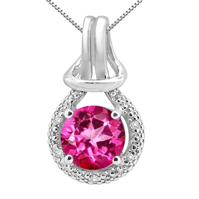 2.48Ct Round Shaped Pink Topaz and Diamond Pendant in 10K Gold