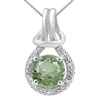 2.48Ct Round Shaped Green Amethyst and Diamond Pendant in 10K Gold