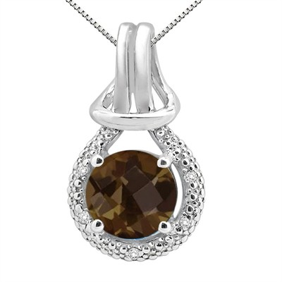 2.48Ct Round Shaped Smokey Quartz and Diamond Pendant in 10K Gold
