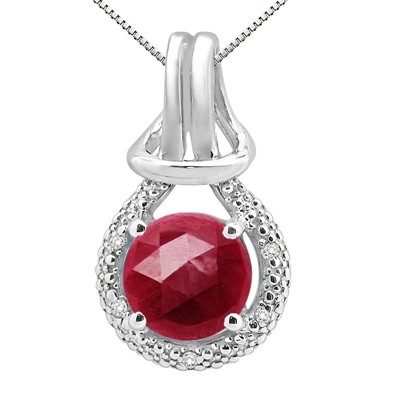 2.48Ct Round Shaped Lab Created Ruby and Diamond Pendant in 10K Gold