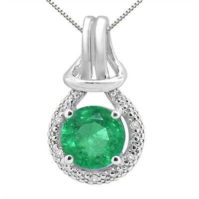2.48Ct Round Shaped Lab Created Emerald and Diamond Pendant in 10K Gold
