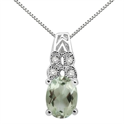 1.48Ct Oval Shaped Green Amethyst and Diamond Pendant in 10K Gold