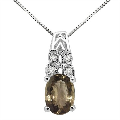 1.48Ct Oval Shaped Smokey Quartz and Diamond Pendant in 10K Gold