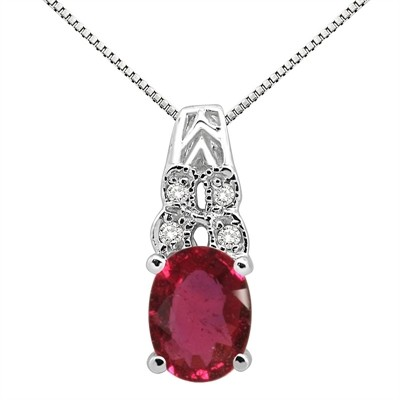 1.48Ct Oval Shaped Ruby and Diamond Pendant in 10K Gold