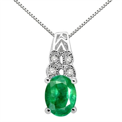 1.48Ct Oval Shaped Emerald and Diamond Pendant in 10K Gold