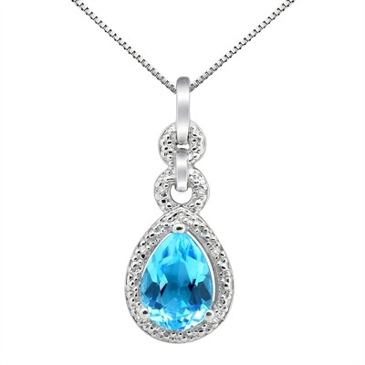 2.55Ct Pear Shaped Blue Topaz and Diamond Pendant in 10K Gold