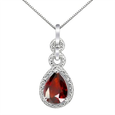 2.55Ct Pear Shaped Garnet and Diamond Pendant in 10K Gold