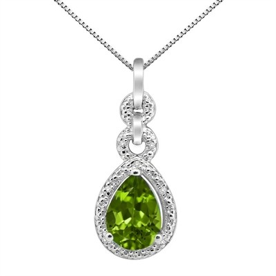 2.55Ct Pear Shaped Peridot and Diamond Pendant in 10K Gold