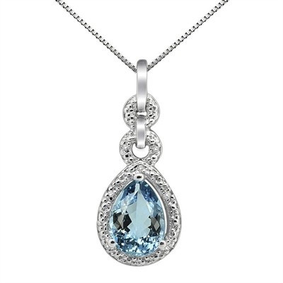 2.55Ct Pear Shaped Aquamarine and Diamond Pendant in 10K Gold
