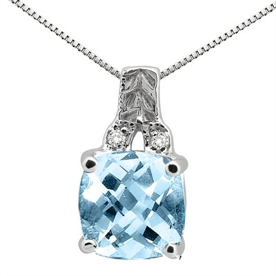 2.75Ct Cushion Shaped Aquamarine and Round Shaped Diamond Pendant in 10K Gold