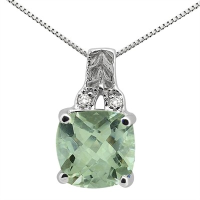 2.75Ct Cushion Shaped Green Amethyst and Round Shaped Diamond Pendant in 10K Gold