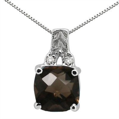 2.75Ct Cushion Shaped Smokey Quartz and Round Shaped Diamond Pendant in 10K Gold