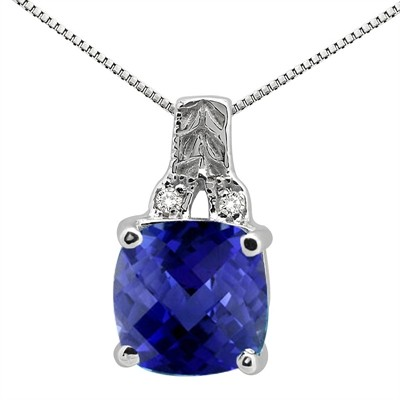 2.75Ct Cushion Shaped Lab Created Sapphire and Round Shaped Diamond Pendant in 10K Gold