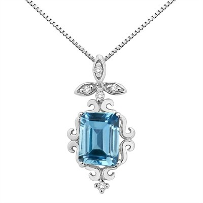 1.65Ct Shaped Blue Topaz and Diamond Pendant in 10K Gold
