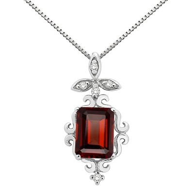 1.65Ct Shaped Garnet and Diamond Pendant in 10K Gold
