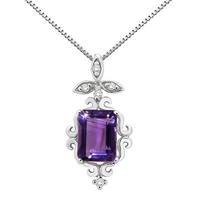 1.65Ct Shaped Amethyst and Diamond Pendant in 10K Gold