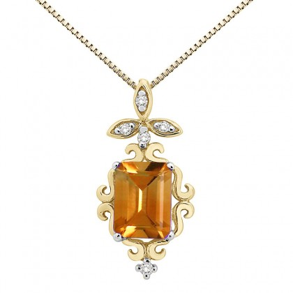 1.65Ct Shaped Citrine and Diamond Pendant in 10K Gold