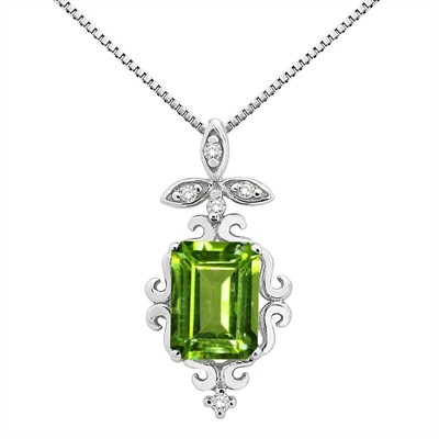 1.65Ct Shaped Peridot and Diamond Pendant in 10K Gold