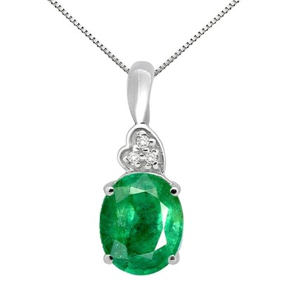 4.90Ct Oval Shaped Lab Created Emerald and Diamond Pendant in 10K Gold