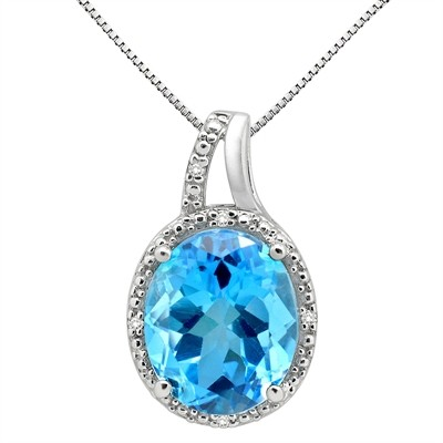 5.95Ct Oval Shaped Blue Topaz and Diamond Pendant in 10K Gold