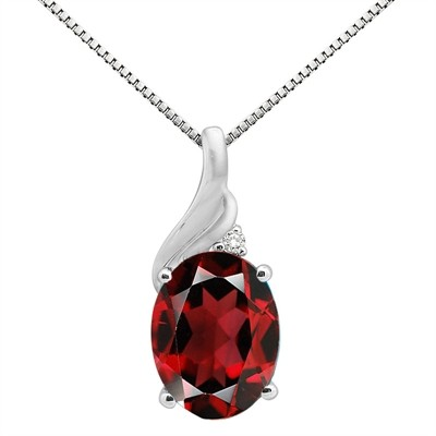 2.16Ct Oval Shaped Garnet and Diamond Pendant in 10K Gold