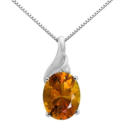 2.16Ct Oval Shaped Citrine and Diamond Pendant in 10K Gold