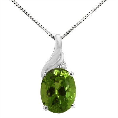 2.16Ct Oval Shaped Peridot and Diamond Pendant in 10K Gold