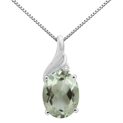 2.16Ct Oval Shaped Green Amethyst and Diamond Pendant in 10K Gold