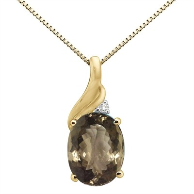 2.16Ct Oval Shaped Smokey Quartz and Diamond Pendant in 10K Gold