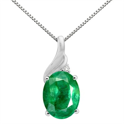 2.16Ct Oval Shaped Lab Created Emerald and Diamond Pendant in 10K Gold