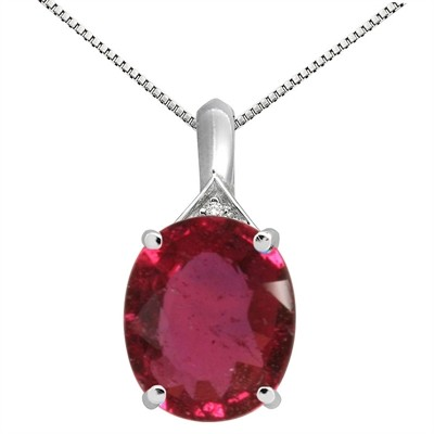 5.49Ct Oval Shaped Lab Created Ruby and Diamond Pendant in 10K Gold