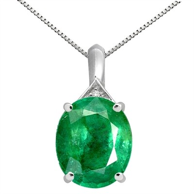 5.49Ct Oval Shaped Lab Created Emerald and Diamond Pendant in 10K Gold