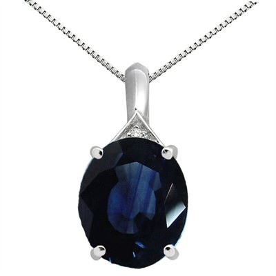5.49Ct Oval Shaped Lab Created Sapphire and Diamond Pendant in 10K Gold