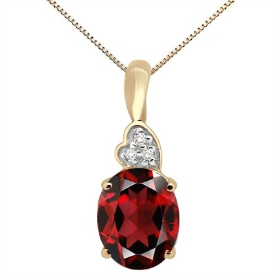4.90Ct Oval Shaped Garnet and Diamond Pendant in 10K Gold