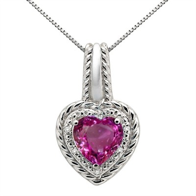 2.15Ct Heart Shaped Pink Topaz and Diamond Pendant in 10K Gold