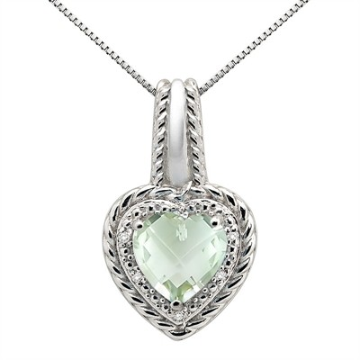 2.15Ct Heart Shaped Green Amethyst and Diamond Pendant in 10K Gold