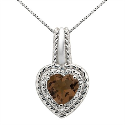 2.15Ct Heart Shaped Smokey Quartz and Diamond Pendant in 10K Gold
