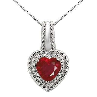2.15Ct Heart Shaped Lab Created Ruby and Diamond Pendant in 10K Gold