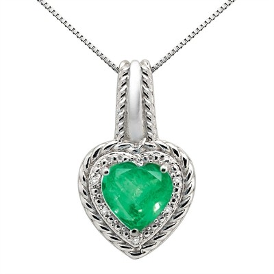 2.15Ct Heart Shaped Lab Created Emerald and Diamond Pendant in 10K Gold