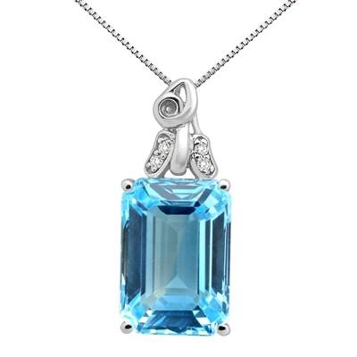 9.40Ct Emerald CutBlue Topaz and Diamond Pendant in 10K Gold