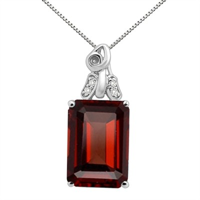 9.40Ct Emerald CutGarnet and Diamond Pendant in 10K Gold