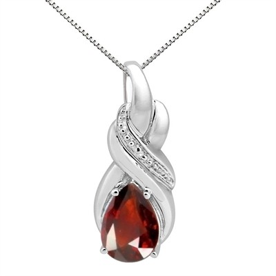 9.35Ct Pear Shaped Garnet and Diamond Pendant in 10K Gold