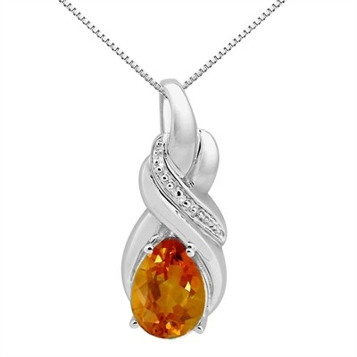 9.35Ct Pear Shaped Citrine and Diamond Pendant in 10K Gold