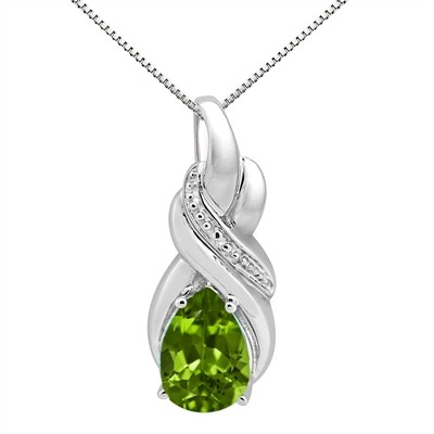 9.35Ct Pear Shaped Peridot and Diamond Pendant in 10K Gold