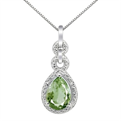 2.55Ct Pear Shaped Green Amethyst and Diamond Pendant in 10K Gold